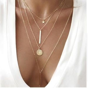 Jewelry - Boho Multi Layer Pendant Star Bar Coin Necklace